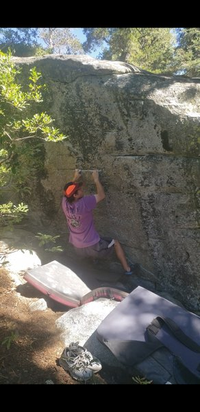 Pulling onto the crux start hold