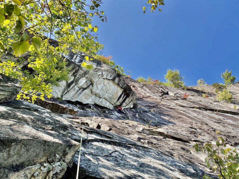 Dustin at the first pitch crux