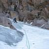 Scott Crady on lead in prime alpine ice conditions, 9/20.<br> <br> Photo by Jack Barker.