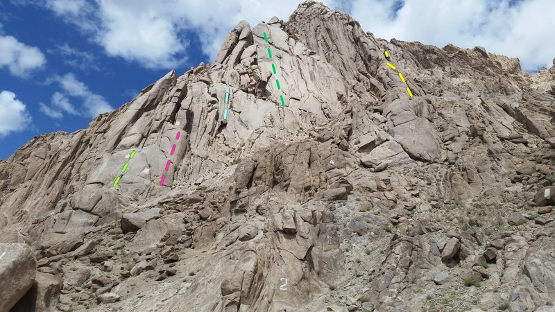 The Shey climbing area as viewed from near the parking. 