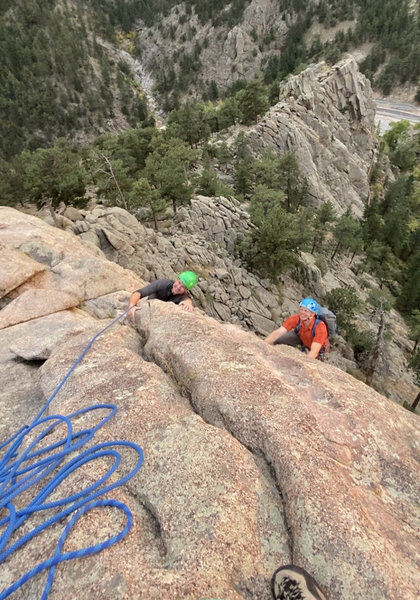 Belaying from the summit.