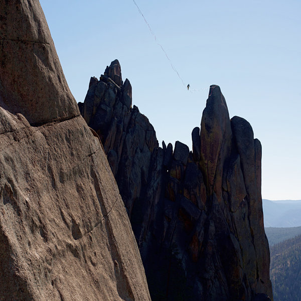 December 9 ,2018 first ascent between Block Tower & Cynical Pinnacle via slackline. JCOS - FHRC approval & no real interference with climbing. Rigged rarely. Beautiful line!