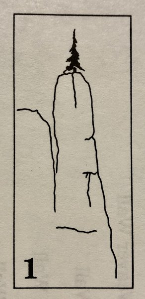Poodle Pinnacle diagram from Rocky Buttew Quarry: A Climbers. Guide To Urban Rock.  Out of Print, © Mike Pajunas & Bob McGown 1987, 1989.