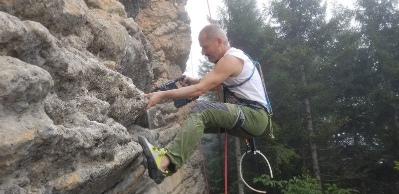 Suat Erdoğan drills out the bolt holes on Mantle Piece.