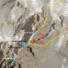 Detail view of descent from Picture Peak that my partner and I took in July 2019.  Possible alternate rap on the SW side of the first tower indicated, but we did not confirm this rap.  Other routes likely possible!