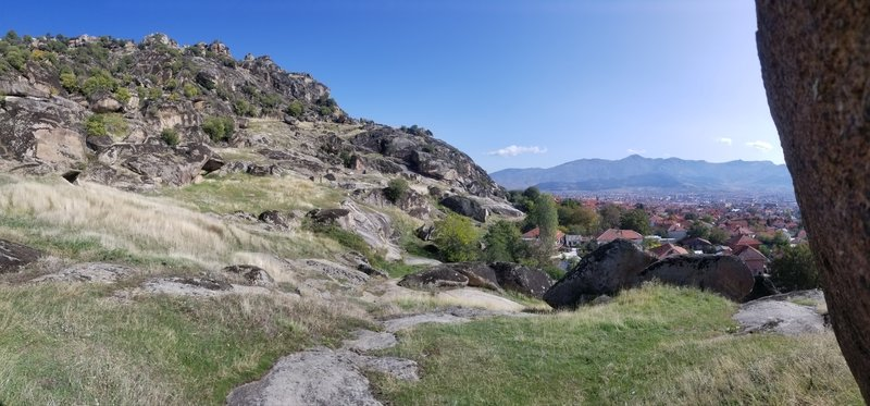The town of Prilep as viewed from one of the boulder covered hillside.