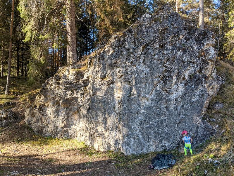 Climbing area at Lago di San Vito (Lago di Mosigo). 4 year old for scale.