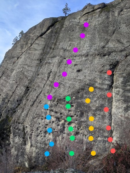 Blue - Core 5.8<br> Purple- Don't let friends climb slab 5.6<br> Green - My buddy the poser 5.7<br> Yellow - life's a shipping cart 5.11c<br> Red - tried to be read 5.10d