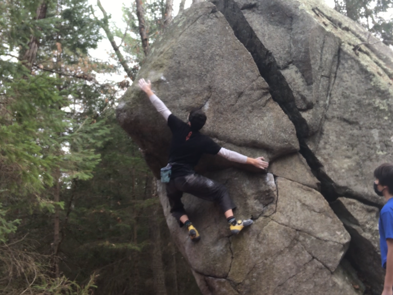 Reaching for the bad sloper at the crux.