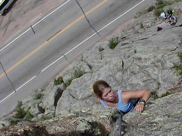 Megan cranking through the crux of her first climb ever.