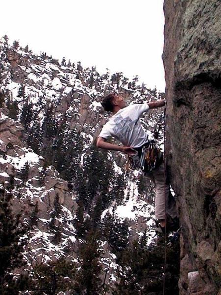 Pete Franzen climbing Global Gorilla.