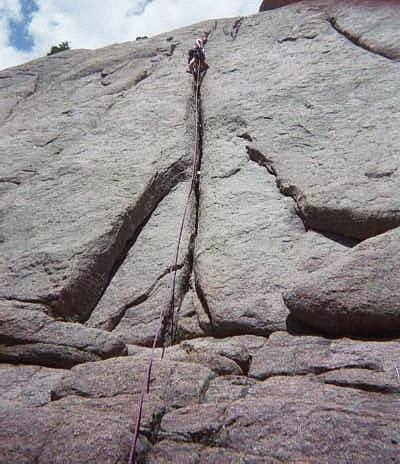 The first pitch of the route.