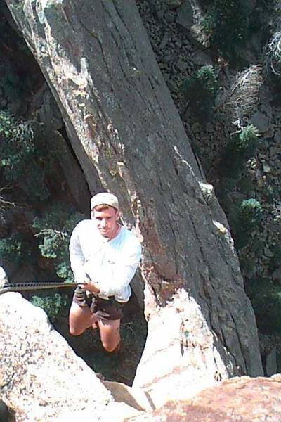 Mike Belcher airs it out on the Maiden rappel!