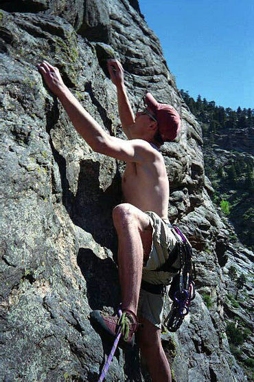 Erik Marr climbing just right of the 1st belay on Dueces Wild.