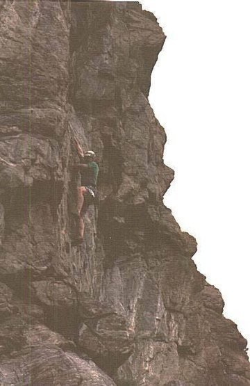 Alan Nelson on the route.  It's dark because it was shot after sunset just after all of the routes were set.