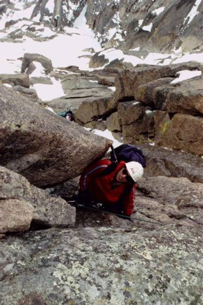 """""""Staircase"""" - yes, it's 5.4 but not a happy climb on May 27, 2001 - very wet. Climber: Vladimir Kunin (Denver, CO). Photo by: Dmitry Eremin (Chicago, IL)."""