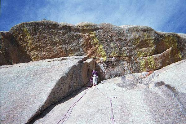 At the anchors of E.O. Friction.  E.O. Leiback climbs the flake just to the left of the rope.