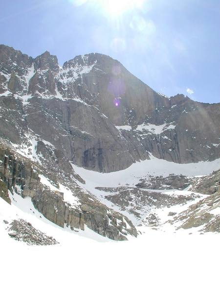 View of the Diamond and the Notch Couloir from Chasm Lake, May 2000.  Photographer:  Paul Crowder.