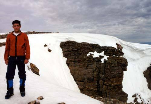 Dan standing in front of the last, narrow, and steepest section of Shooting Star (on the left).