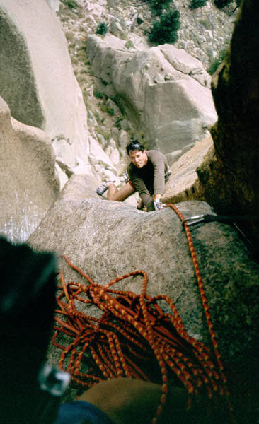 Tony following the second pitch of [Wunsch's] Dihedral.  Photo by Joseffa Meir