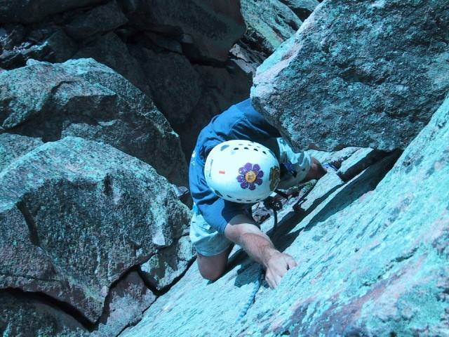 Brendan Freedman near the top of Breezy on his first day climbing. Photo by Kreighton Bieger (sorry about the contrast).