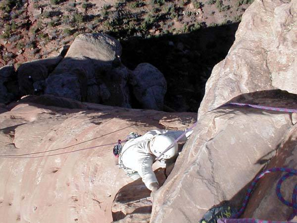 Dan Mottinger finishing the overhanging and exposed pitch--quite a rush.