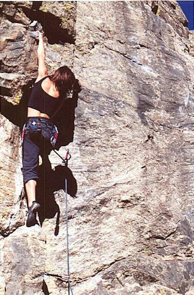 Beautiful woman, lovely climber, loads of tenacity.