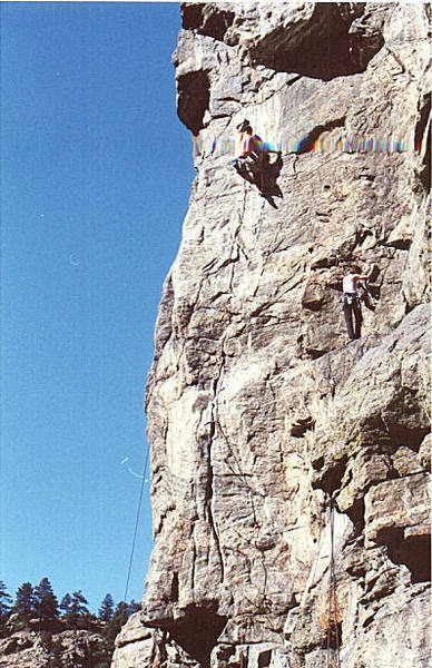 Joe Huggins setting up the dynamic crux.