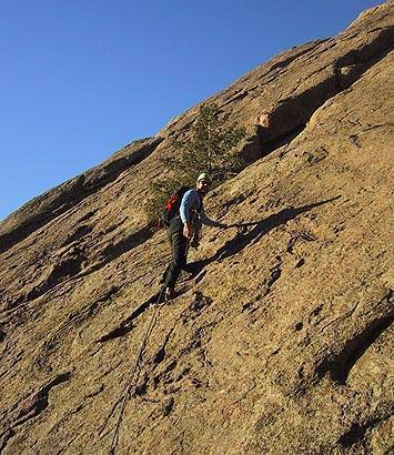 George Bell on the first pitch of Enchanted Devil, Flatirons Central.<br> <br> Photo by Warren Teissier.