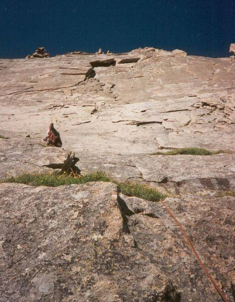 Tony Bubb leading an early pitch on Sykes Sickle of the Spearhead (RMNP).<br> <br> Photo by J. Meir.