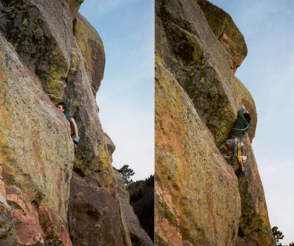 Mark Speiker getting into the 3rd Pitch of Ignominity.  Photo by Tony Bubb.