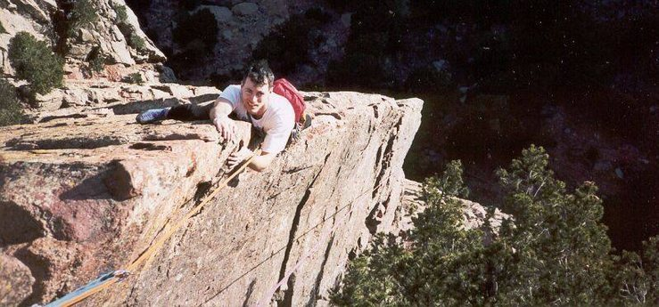 Mark Spieker Follows the Rebuffat's arete at the top of The Green Spur.<br> <br> Photo by Tony Bubb.