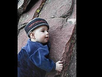 1 year old Dirk Komarnitsky starts his ascent of the Flatirons.