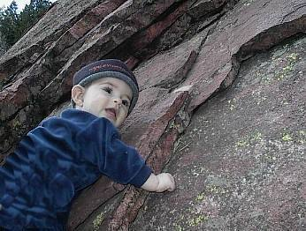 1 year old Dirk Komarnitsky goes VERTICAL on Flatirons....
