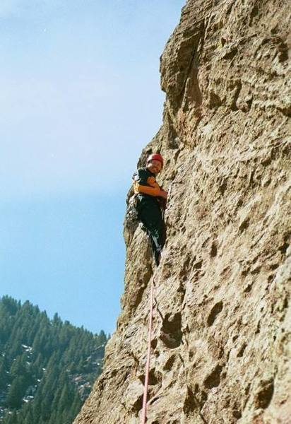 Bruce Theriault at the second belay. Photo by Kevin Currigan on March 31, 2002.