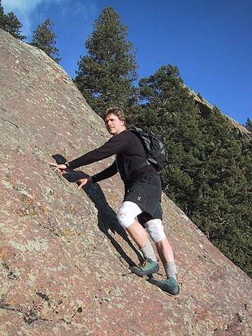 Mark Oveson a hundred feet up Diagonal, The Slab (Flatirons).