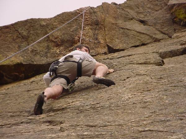 Rob Mullen working the crimps before the roof