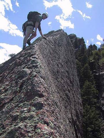 Mark Oveson nearing the pointly summit of the Fifth Flatiron.