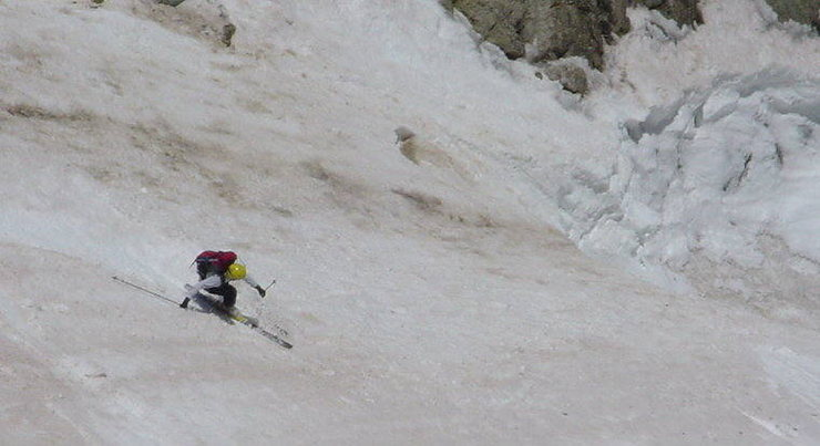 Mike Mullen skiing the upper section of the Skywalker Couloir.