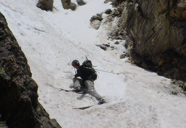Photo taken by Marcel Godbout.  This is the Princess Leia section of the couloir.  It got very narrow here, about 5 feet, I had to remove my skis and downclimb about 50 feet.