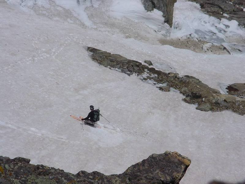This photo was taken by Marcel Godbout, from near the top of the princess leia finish.  Skiing the upper section of the couloir, on good years I think that the rock band is normally covered by snow.There was a huge channel to the left of the rock band that effectively reduced the width to about 10 feet.