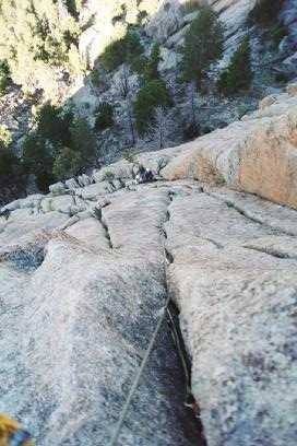 Looking down the third pitch of Osiris just before the crux.