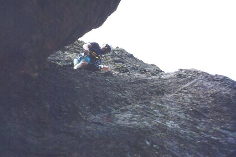 Starting the slabby 4th pitch of the Maiden's north face route.