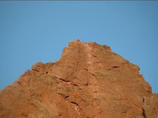 View of west side Montezuma's Tower....  Bill and Ed readying to rappel from 2nd pitch.