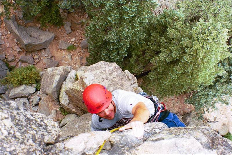 Conan Currigan on the overhang of the 2nd pitch on July 5, 2002.
