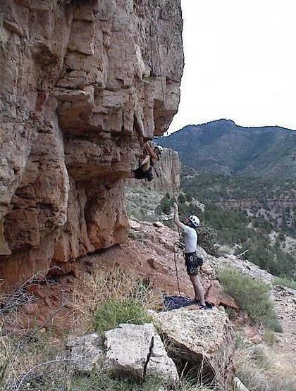 Sean belaying his wife on Chunky Monkeys big first move.