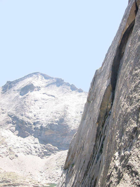 Climbers enter the giant sickle on Syke's. Photographed from the top of the Barb Flake, Friday 9 August 2002.