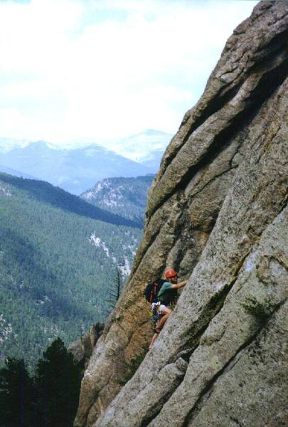 Theo Barker advances up the rock on a very cool anniversary climb.