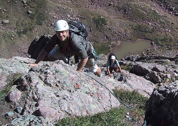 Fun climbing below the final crux headwall.