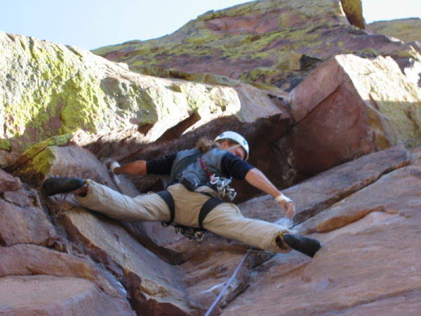 About to enter the chimney on the fourth pitch.